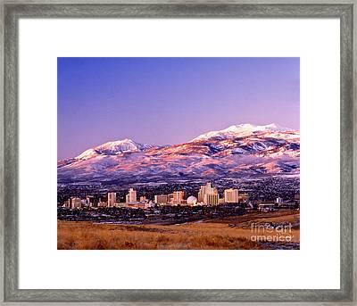 Winter Skyline Of Reno Nevada Framed Print by Vance Fox