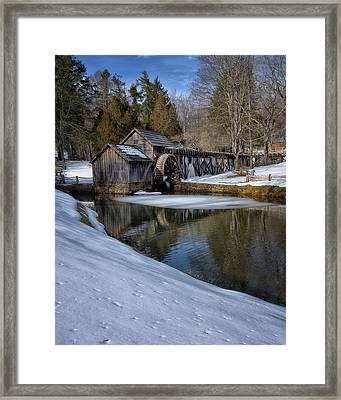 Winter Snow At Mabry Mill Framed Print