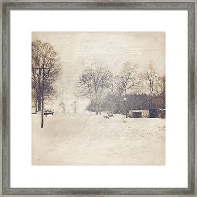 Winter Snow Storm At The Farm Framed Print