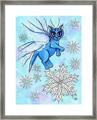 Framed Print featuring the painting Winter Snowflake Fairy Cat by Carrie Hawks
