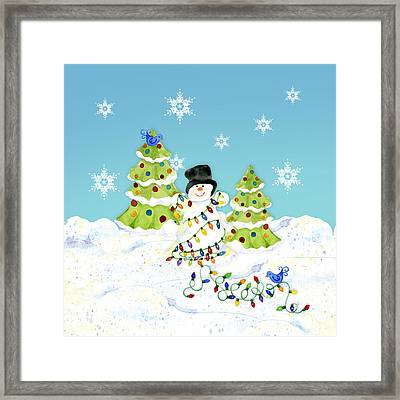 Winter Snowman - All Tangled Up In Lights Snowflakes Framed Print