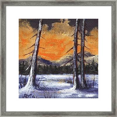 Framed Print featuring the painting Winter Solitude #2 by Anastasiya Malakhova