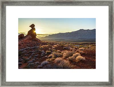 Winter Solstice Sunrise At Balanced Rock Framed Print by Joe Doherty
