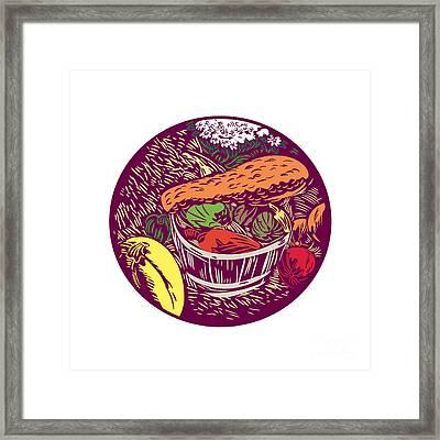 Winter Squash Pumpkin Oval Woodcut Framed Print by Aloysius Patrimonio