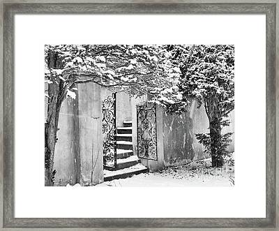 Winter Steps At The Vanderbilt In Centerport, Ny Framed Print