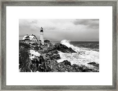 Winter Storm At Portland Head Framed Print by Olivier Le Queinec