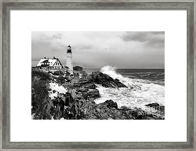 Winter Storm At Portland Head Framed Print