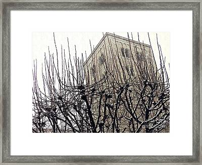 Winter Storm At The Cloisters 1 Framed Print by Sarah Loft