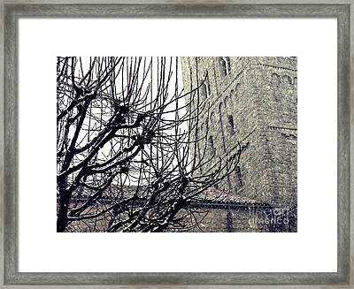 Winter Storm At The Cloisters 2 Framed Print by Sarah Loft