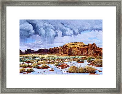 Winter Storm In Mystery Valley Framed Print