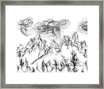 Winter Storm In The Mountain Range Framed Print by Abstract Angel Artist Stephen K