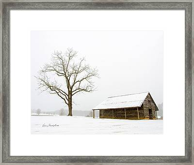 Winter Storm On The Farm Framed Print by George Randy Bass