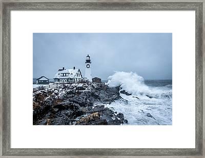 Winter Storm, Portland Headlight Framed Print