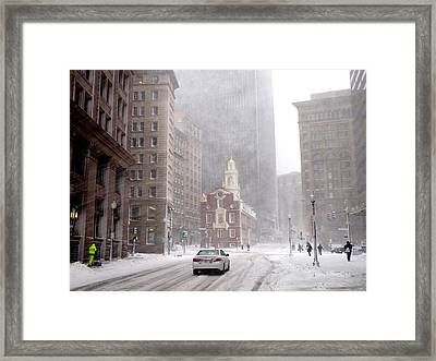 Winter Storm Stella Hitting The Boston State Street Framed Print by Toby McGuire