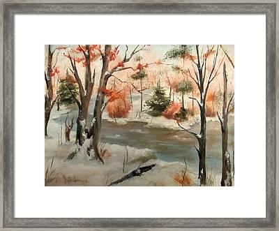 Winter Stream Framed Print by Roseann Gilmore