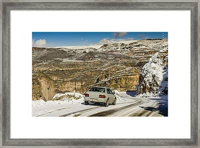 Winter Subaru Adventure Framed Print by Aaron Fink