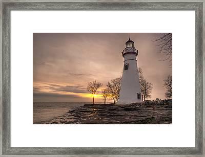 Winter Sunrise At Marblehead Lighthouse Framed Print
