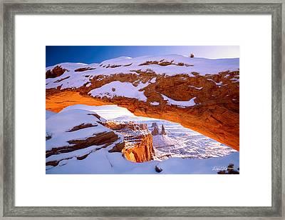 Winter Sunrise At Mesa Arch Framed Print