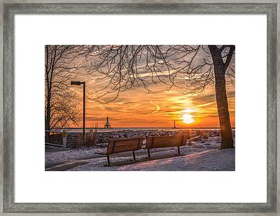 Winter Sunrise In The Park Framed Print