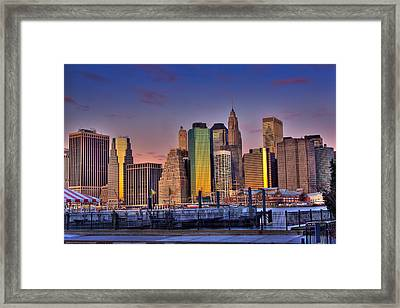 Winter Sunrise Over Downtown Manhattan Framed Print by Val Black Russian Tourchin
