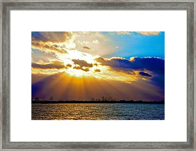 Winter Sunrise Over Miami Beach Framed Print by William Wetmore