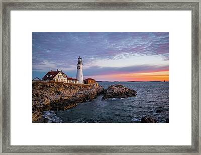 Winter Sunrise Over Portland Head Light Framed Print