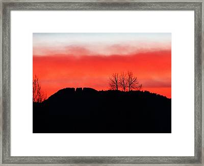 Winter Sunset At Horsetooth Rock Framed Print by Shari Massey