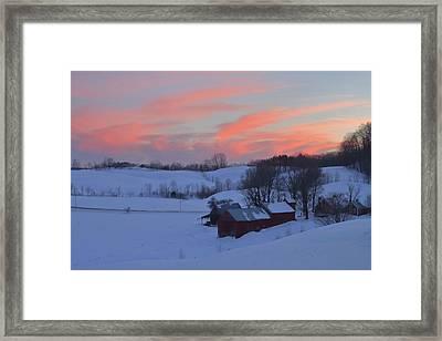 Winter Sunset At Jenne Farm Vermont Framed Print by John Burk