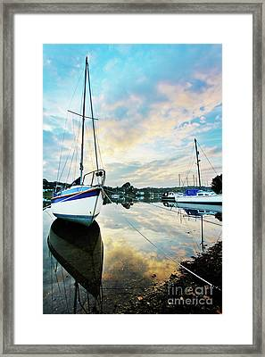 Winter Sunset At Mylor Bridge Framed Print