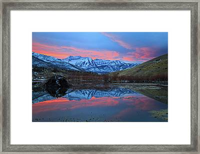 Framed Print featuring the photograph Winter Sunset At The Wallsburg Turn. by Johnny Adolphson