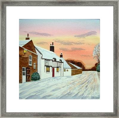 Winter Sunset At 'the Wheatsheaf' Framed Print by Peter Farrow
