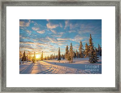 Winter Sunset Framed Print by Delphimages Photo Creations