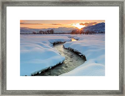 Winter Sunset In Rural Utah. Framed Print