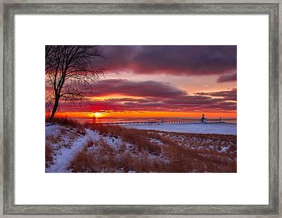 Winter Sunset In St Joe Framed Print by Jackie Novak