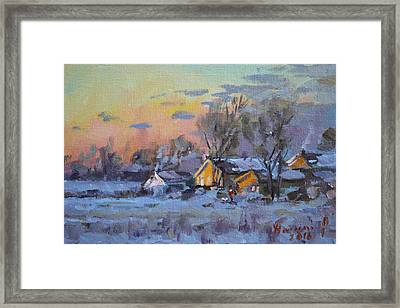 Winter Sunset In The Farm Framed Print by Ylli Haruni