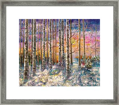 Dylan's Snowman - Winter Sunset Landscape Impressionistic Painting With Palette Knife Framed Print