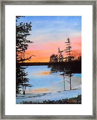 Winter Sunset Laurel Lake Lenox Ma Framed Print by William Tremble
