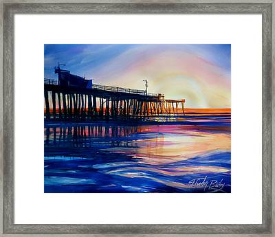 Winter Sunset On Pismo  Pier Framed Print by Therese Fowler-Bailey
