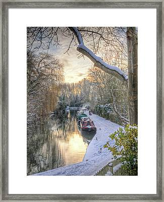 Winter Sunset On The River Framed Print by Gill Billington