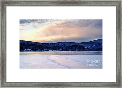 Winter Sunset On Wilson Lake In Wilton Me  -78091-78092 Framed Print