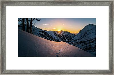 Winter Sunset Over Little Cottonwood Canyon Framed Print