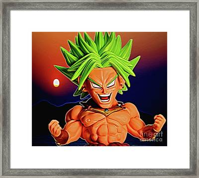 Framed Print featuring the digital art Sunset Ss Broly by Ray Shiu