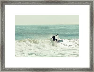 Winter Surfer On Sunny Day Framed Print by Erin Cadigan