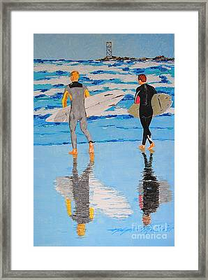 Winter Surfers Framed Print