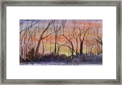 Winter Surprise -a Watercolor Sketch  Framed Print by Joel Deutsch