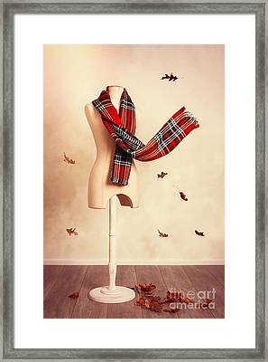 Winter Tartan Scarf With Fall Leaves Framed Print