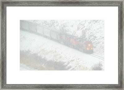 Winter Train Framed Print by Mike Dawson