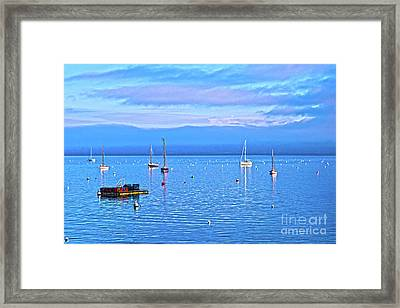 Winter Tranquility Hdr In Carrick Roads Framed Print by Terri Waters