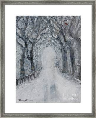 Framed Print featuring the painting Winter Tree Tunnel by Robin Maria Pedrero