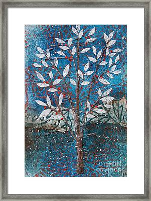 Winter Tree With Red Berries Framed Print
